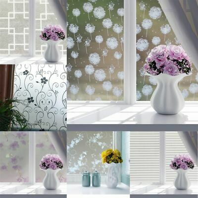 Frosted Opaque Door Flowers Privacy Adhesive Glass Sticker Grille Window Film