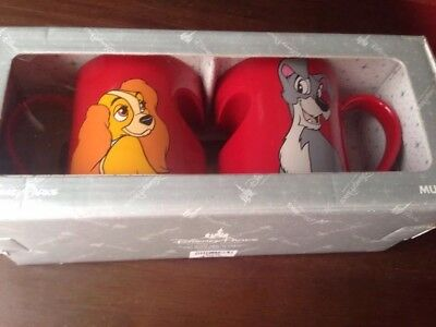 NEW Disney Parks LADY and The TRAMP ♡ Heart ♡ Ceramic Coffee 2 Mug Cup Set!