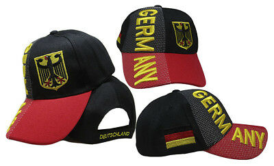Germany Eagle Deutschland Country Letters Black Red Bill 3-D Embroidered Cap Hat
