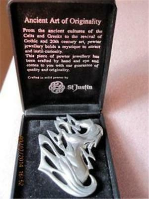 ST. JUSTIN FANTASY HORSE Celtic Pewter Brooch Boxed Hand Crafted