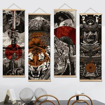 Japanese Samurai Wall Art Picture Hanging Scroll Painting With Wooden Hanger