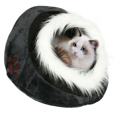 Grey & Black Luxury Pet House Igloo Dog Cat Soft Comfy Bed Cats Dogs Beds Houses