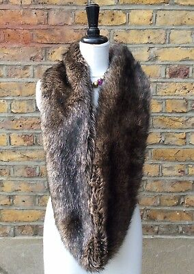 Marks & Spencer Autograph Womans Brown Faux Fur Infinity Scarf One Size