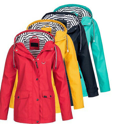 Women Waterproof Raincoat Windproof Rain Jacket Hooded Outwear Drawstring AU