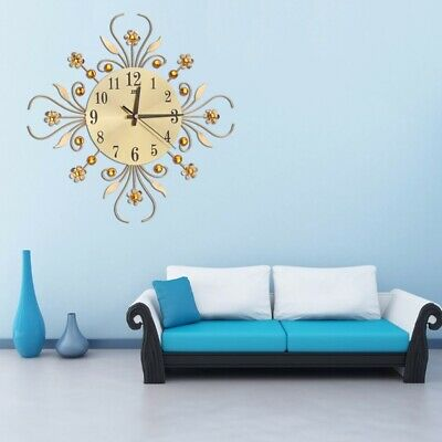Diamond Modern 3D DIY Wall Clock Metal Luxury Wall Watch Home Living Room Decor