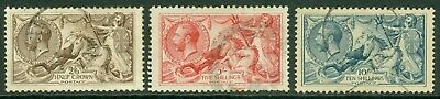 SG 415-417. 1918-19 seahorses 2/6 to 10/-. Fine used CAT £385