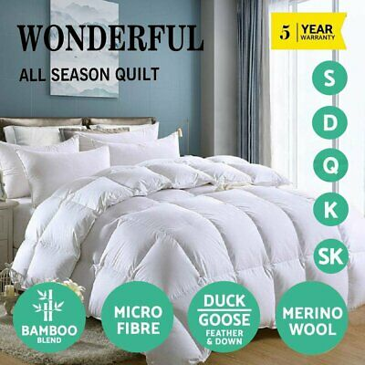 Luxury Bedding Wool/Duck/Goose Down Feather/Microfiber/Bamboo Quilt Doona Duvet