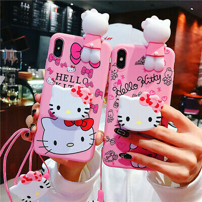 Cute 3D Hello kitty Doll Strap Holder Case Cover for iPhone XR XS Max X 8