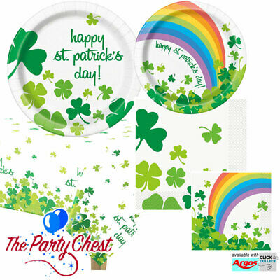 ST PATRICKS DAY RAINBOW SHAMROCK PARTY TABLEWARE Tablecover Plates & Napkins