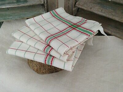 Unused Vintage French Linen Metis Torchon Tea Towel Green & Red  3 Available