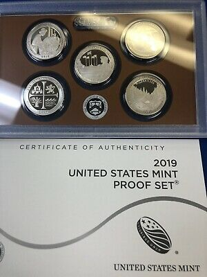 NEW !!! 2019 Clad PROOF America Beautiful Quarts 5 coin set,wIth COA but no box.