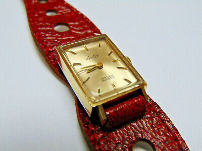Arctos - Gold Plated - Good condition - Red Strap - Lady Square Watch - 17 Rubis