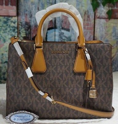 72d745b9b1a4 MICHAEL KORS CAMILLE LARGE Satchel Crossbody Bag In BROWN/ACORN PVC Leather  $448