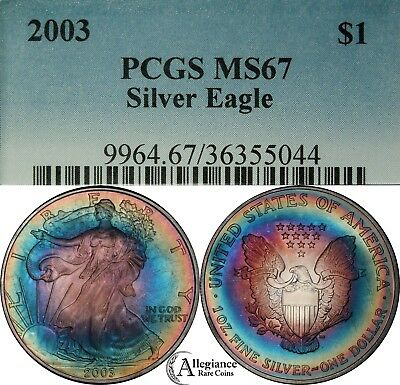 2003 $1 ASE American Silver Eagle PCGS MS67 Rainbow toning / toned MONSTER!