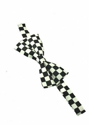 Unisex Black and White Check Checkered Pattern Novelty Bow Tie - Brand New