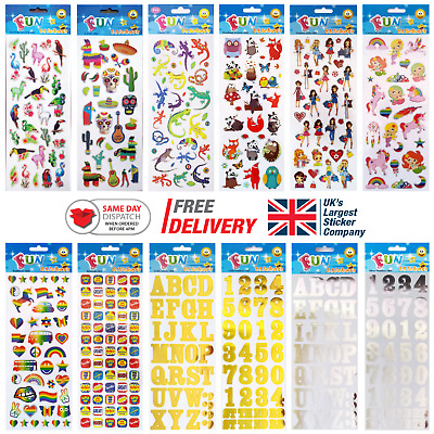 Fun Stickers Children Birthday Party Loot Bag Fillers Kids Decorating Pack H