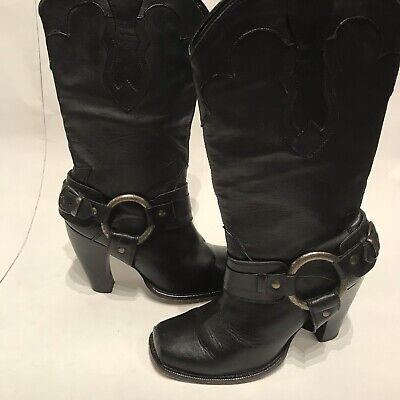 JUSTIN Black Leather HARNESS Heel SQUARE TOE Cowboy Western BOOTS Sz 7