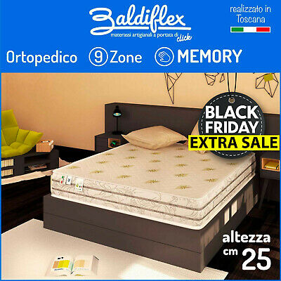 Materasso Matrimoniale 160X200 H25 Cm 9 Zone Differenziate 7 Cm Memory Foam Duck