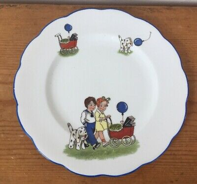 Antique 30s Royal Albert Crown China Children Baby Balloon Dog Porcelain Plate
