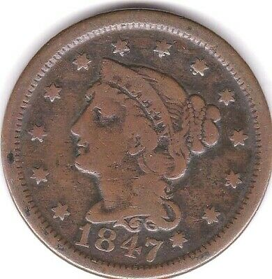 1847 Braided Hair Large Cent - F Condition