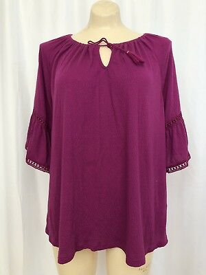 ee703aaf6a08d0 OLD NAVY WOMENS LARGE berry Purple Bell Sleeve Top Mint Condition ...