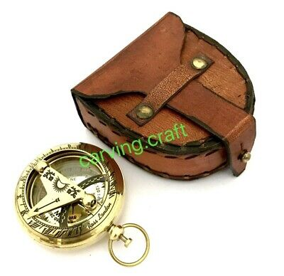 Pocket Sundial Compass - Nautical Brass Compass - with Leather Gift Box