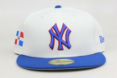 b4a247897f1 New York Yankees Dominican Republic White Blue MLB New Era 59Fifty Fitted  Hat