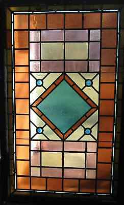 Large Antique Stained Glass Window Four Jewel Architectural Salvage 1 of Pair