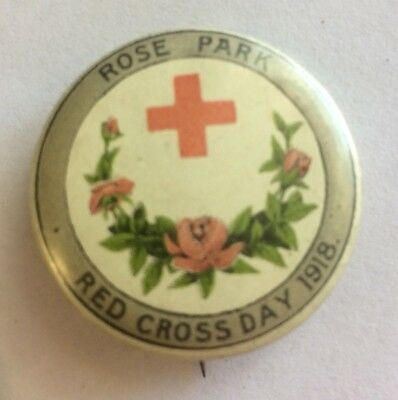 WW1 South Australia Rose Park Red Cross Day 1918 Appeal Button Badge