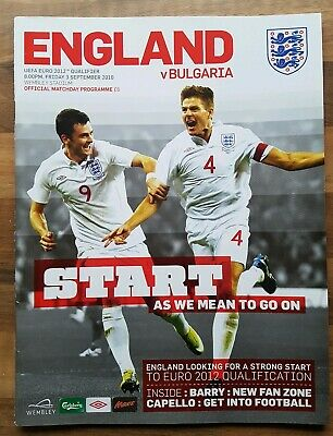 England v bulgaria 3rd September 2010 football programme