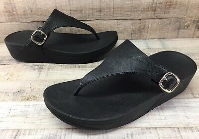 21c45f9d5529 FITFLOP THE SKINNY Black Leather Thong Sandals Women s sz 8 -  34.99 ...