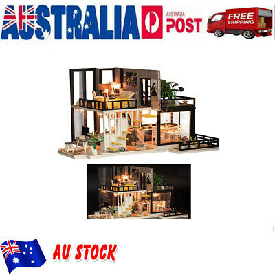 Modern Doll House Miniature DIY Dollhouse With Furniture LED Light Gift Kit