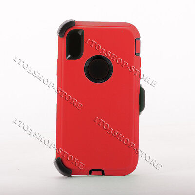 iPhone Xs Max Hard Case w/Holster Belt Clip Fits Defender - Red / Black