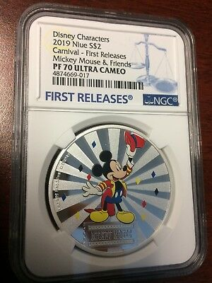 2019 Niue Silver $2 Disney Characters Carnival Mickey Mouse PF70 UC FR NGC Coin