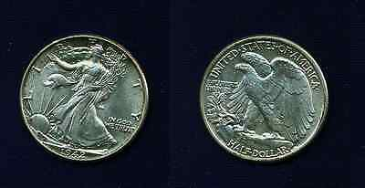 U.s.  1942 Walking Liberty Half-Dollar Silver Coin, Uncirculated!