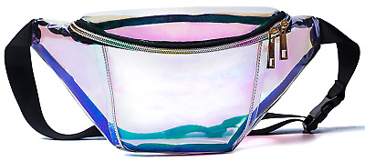 Leotruny Holographic Fanny Pack for Festival, Party, Travel Iridescent