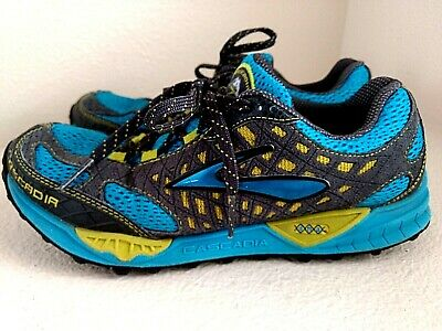e36cc236c7d Brooks Cascadia 7 Blue Grey Yellow Athletic Mens Trail Running Shoes Size 8