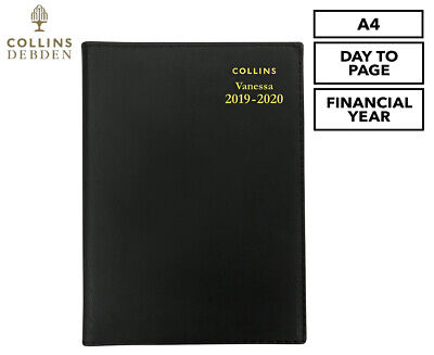 Collins Debden Vanessa 2019/2020 Financial Year A4 Day To Page Diary - Black