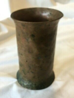 "Hand Hammered Copper Tumbler Vase Heavy! 6"" Arts & Crafts Solid Heavy OOAK"