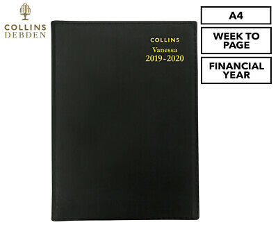 Collins Debden Vanessa 2019/2020 Financial Year A4 Week To Page Diary - Black