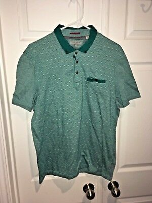 Polos Shirts Beautiful Mens Ted Baker London Polo Shirt Size 7 Short Sleeve Cotton Blue White Geometric