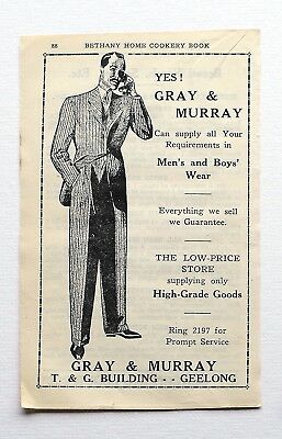 Vintage 1940s Australian print advertisement for Gray & Murray menswear, Geelong