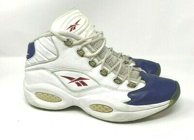 d9c461dc37c 2006 Reebok Question Mid Allen Iverson 10TH Anniversary White Navy Blue Red  12.5
