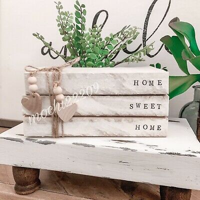 Personalized Stamped Stacked Books Farmhouse-Vintage-Rustic-Home Sweet Home