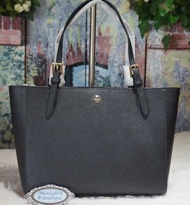 2f9e19ebb3f4 NWT TORY BURCH EMERSON Small Buckle Tote Shoulder Handbag in Black Leather   245