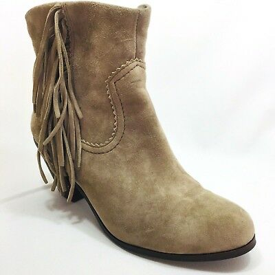 fab38edc8 Sam Edelman Louie Tan Suede Western Fringe Ankle Zip Up Booties Womens Size  7.5
