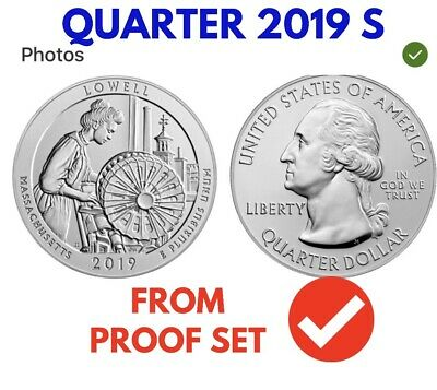 "NEW PRE SALE 2019 S"" Lowell National Park, Clad Quarter, Proof, Single Coin"