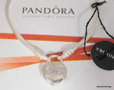 New/tags Authentic Pandora Bracelet You Are Loved Padlock #597806 Multiple Sizes
