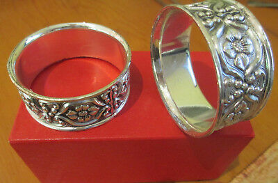 Set of 4 Silver Plated Granada Napkin Rings, Made in Japan
