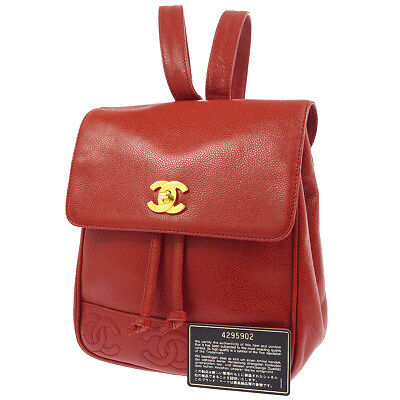 Authentic CHANEL CC Logos Chain Backpack Red Caviar Skin Vintage GHW  AK17094e 3ab23a26d33bc